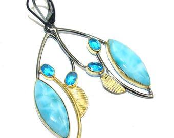 Larimar, Blue Topaz Sterling Silver Earrings - weight 10.10g - dim L- 2 5 8, W - 3 4, T- 3 16 inch - code 6-lip-16-69