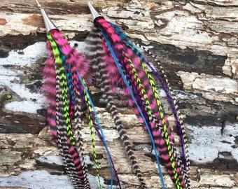 Multicolored Unicorn Rainbow Hippie Long Feather Earrings Performance Costume