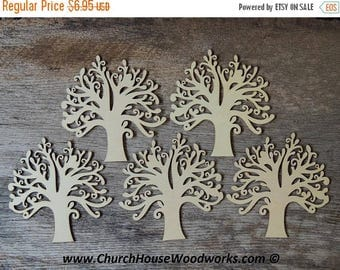Summer SALE 5 qty 5 inch Wood Tree Shapes - Set DIY Craft Idea- Wooden Craft Supplies Accessories, Tree of Life,