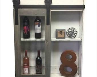 SUMMER SAVINGS Rustic Liquor Cabinet-Liquor Cabinet-Wine Storage-Industrial Liquor-Home Bar-Rustic Cabinet-Country Kitchen-Wall-Wine Rack-wa