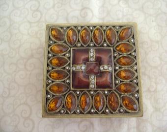 Vintage Metal Trinket Box with Rhinestones