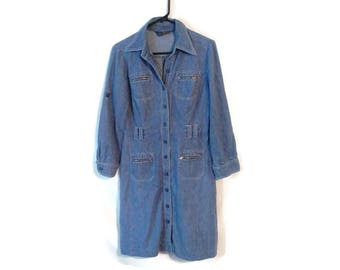 Vintage Rocky Road Dress chambray jean 70s 80s cute long sleeved size Women's M