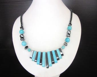 Spiked Hematite & Turquoise Fringe Necklace Art Deco Style 17.5 Inches