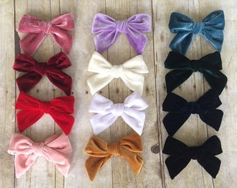 "U CHOOSE | Big Velvet 4.75"" Hair bow clip baby girl grosgrain hairbow headband toddler newborn Medium Bows"