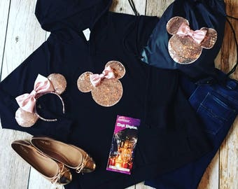 Rose Gold Minnie Mouse Ears, Hoodie and Drawstring Backpack