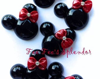 5 pc -Minnie Mouse inspired Mouse Flatback resin- Mouse cabochon- w/ RED bow * Hair bow center *