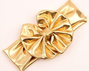 "Metallic Gold Messy Bow Headband Headwrap- 5"" shiny bow- Girls headband- Baby headwrap- Photo prop"
