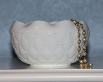 Duette Milk Glass Rose Bowl / Planter by Indiana Glass Co.