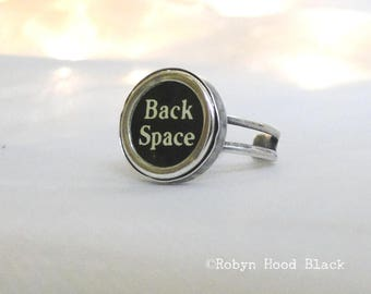 Typewriter Key Vintage Back Space Ring