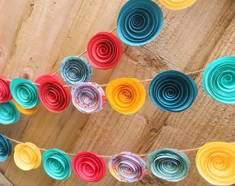 paper flower garland | paper flowers | festival wedding | wedding decoration | photo backdrop | garden party | baby shower | tropical party