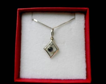 925 silver pendant with bezel set purple cabochon amethyst, 16 inch fine curb chain, open diamond frame, red gift box, ideal gift for her