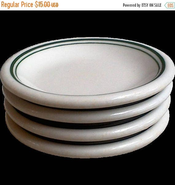 SALE White and Green Ironstone Set of 4 Butter Pats