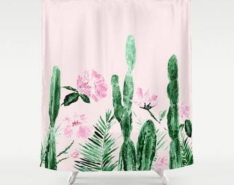 Pink Floral Cactus Shower Curtain, Cactus Shower, Cactus Curtain, Pink  Shower Curtain,