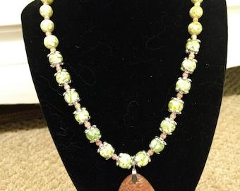 Boho beaded pendant necklace
