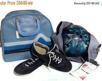 Vintage Bowling Ball Bag, Galaxie 300 ebonite bowling ball, blue Retro Luggage, Carry On, blue suede bowling shoes, 1970s, 1980s