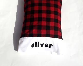 Travel Size Pillow Case.Buffalo Plaid. Christmas. Lumberjack. Personalized. Camping. Preschool.Traveling. Home.