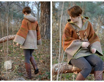 Eco style and boho chic fashion reversible felted hoodie from natural silk and A-Grade wool (with hand knitted fragments) OOAK - to order