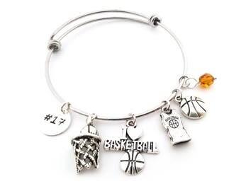 Basketball Bracelet -  Sports Athlete Adjustable Bangle - Birthstone Bracelet - Personalized Jewelry - Gift For Her