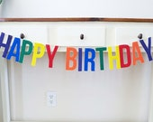 Birthday Banner, Happy Birthday, Rainbow, Reusable, Eco Friendly, Red, Blue, Yellow, Custom, Personalized, Felt, Bright, Gender Neutral