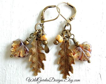 Golden Oak Leaf Dangle Earrings Maple Leaf Earrings Czech Glass Leaves and Seed Pods Fall Foliage Nature Natural Jewelry Autumn Leaves