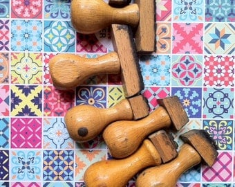 French vintage handle rubber stamps