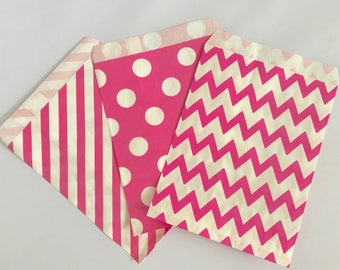 Goodie Bags-Pink Striped, Polka Dot, & Chevron | Gender Reveal | Baby Shower | Candy Buffet | Popcorn | Paper Treat Bags-15 Count