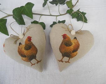 Duet of hearts door chicken country style cushion
