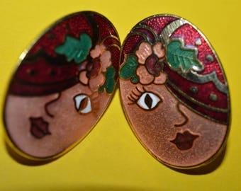 Vintage Red Cloisonne Flapper Face Flapper Girl Hat Enamel Earrings 1980s