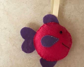 Fish felt ornament-pink and purple