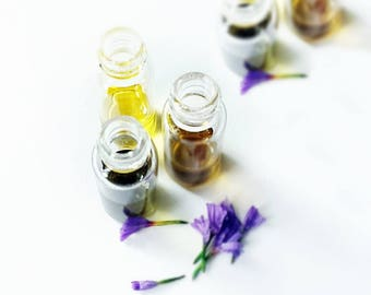 Natural Perfume Sample Set, Your Choice 4 Botanical Fragrances, Essential oils Aromatherapy, Gift For Her, Valentines Gift