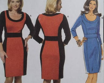 UNCUT and FF Pattern Pieces Butterick 5673 Sewing Pattern Maggy London Color Block Dress Sizes 16 thru 22