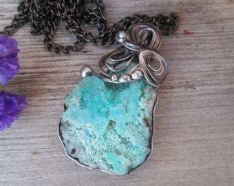 metal  pendant with  Blue Hemimorphite