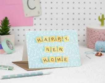 Happy New Home Card, Housewarming Card, Scrabble Inspired Greetings Card | Claireabellemakes