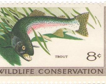 Unused 1971 Wildlife Conservation - Trout - Vintage Postage Stamps Number 1427