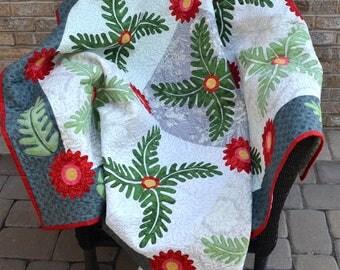 Quilt   Lap Quilt   Floral Quilt   Botanical Quilt   Fern Quilt   Feminine Quilt   Red Grey Green