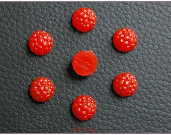 Small raspberry miniature cabochon resin creations gourmet polymer clay kawaii x 1