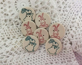 Handmade Rabbit Buttons in porcelain.
