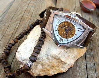 Men's Triangle steampunk watch, Mens Skeleton Wrist Watch, Mens watch bracelet set, Skeleton Mechanical Hand Winding watch