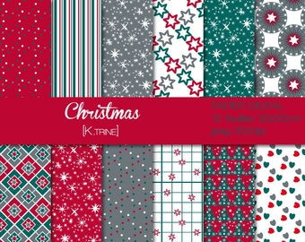 Christmas 12 digital paper sheets for scrapbooking