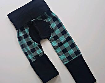 Mint buffalo plaid bootie pants //Grow with me pants //Maxaloones