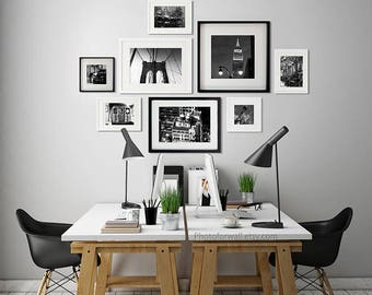 New York Luxury wall decor, Office wall Decor Set of 8 black and white photography/New york wall decoration/large wall art/business wall art