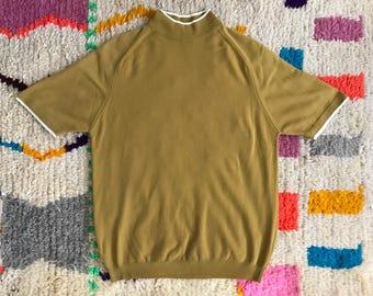 60's knit mustard blouse