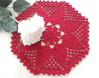 Red Placemat Crochet Placemat Crochet Doily Round Placemat Home Decor Tablecloth Crochet Tablecloth Women Gift