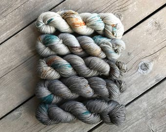 Hand-dyed Yarn Kit - Bountiful Faded Kit - Hand-painted Gold Stellina Yarn - Merino Wool Yarn - Indie-dyed Yarn