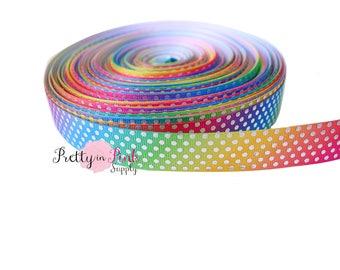 "Rainbow/Silver Metallic Dot Grosgrain Ribbon- Grosgrain Ribbon- 7/8"" Grosgrain Ribbon- Craft Supplies- Hair bow Headband D.I.Y Supplies"