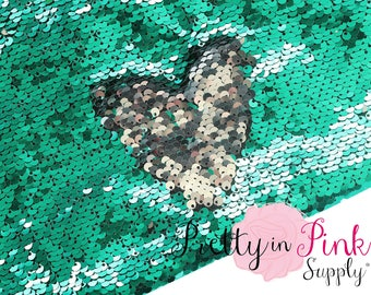 FULL YARD Sea Green/Silver Two Sided Sequin Fabric -  Sequin Fabric - Fabric by the Yard - DIY Sequin- Reversible Sequin Fabric