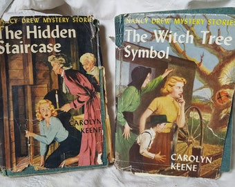 Pair Vintage Nancy Drew Mystery The Witch Tree Symbol and  The Hidden Staircase 1953-58 Edition