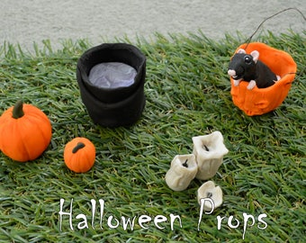 Miniature Halloween Props - Pumpkins, Cauldron and Candles - Made from Coloured Clay