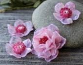 Lampwork Flower Beads, Set of 4 pc Glass Flower Beads, Glass Flower Beads, Flower Beads, Lampwork Beads, Glass Beads