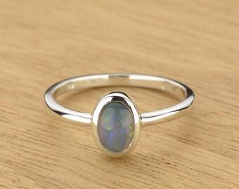 0.48ct Semi-Black Opal Ring in 925 Sterling Silver Size 8 SKU: 1979S051